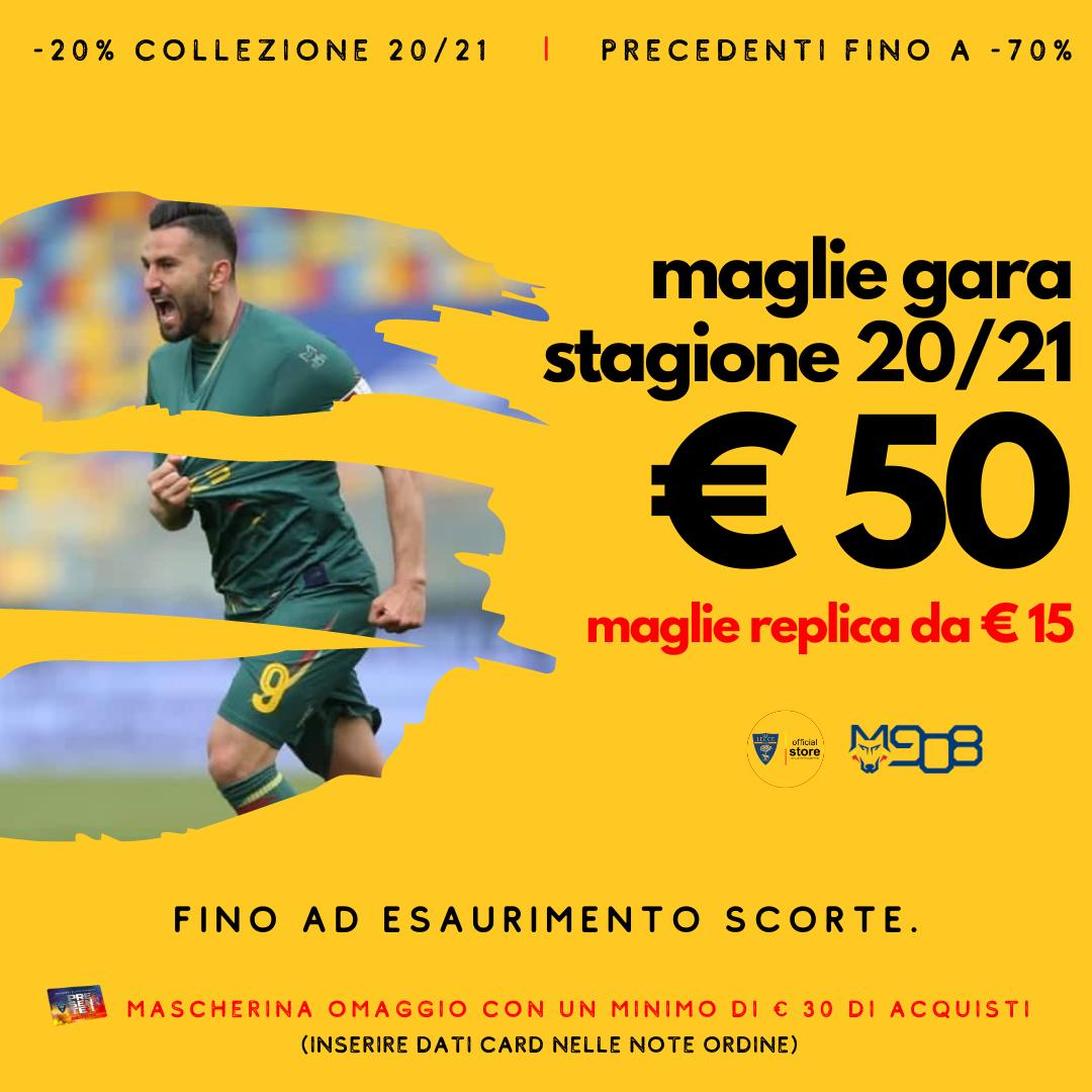 DAL 3 AL 10 MAGGIO – MAGLIE GARA 20/21 A €50 – MAGLIE REPLICA A PARTIRE DA €15 E -20% SU COLLEZIONE 20/21