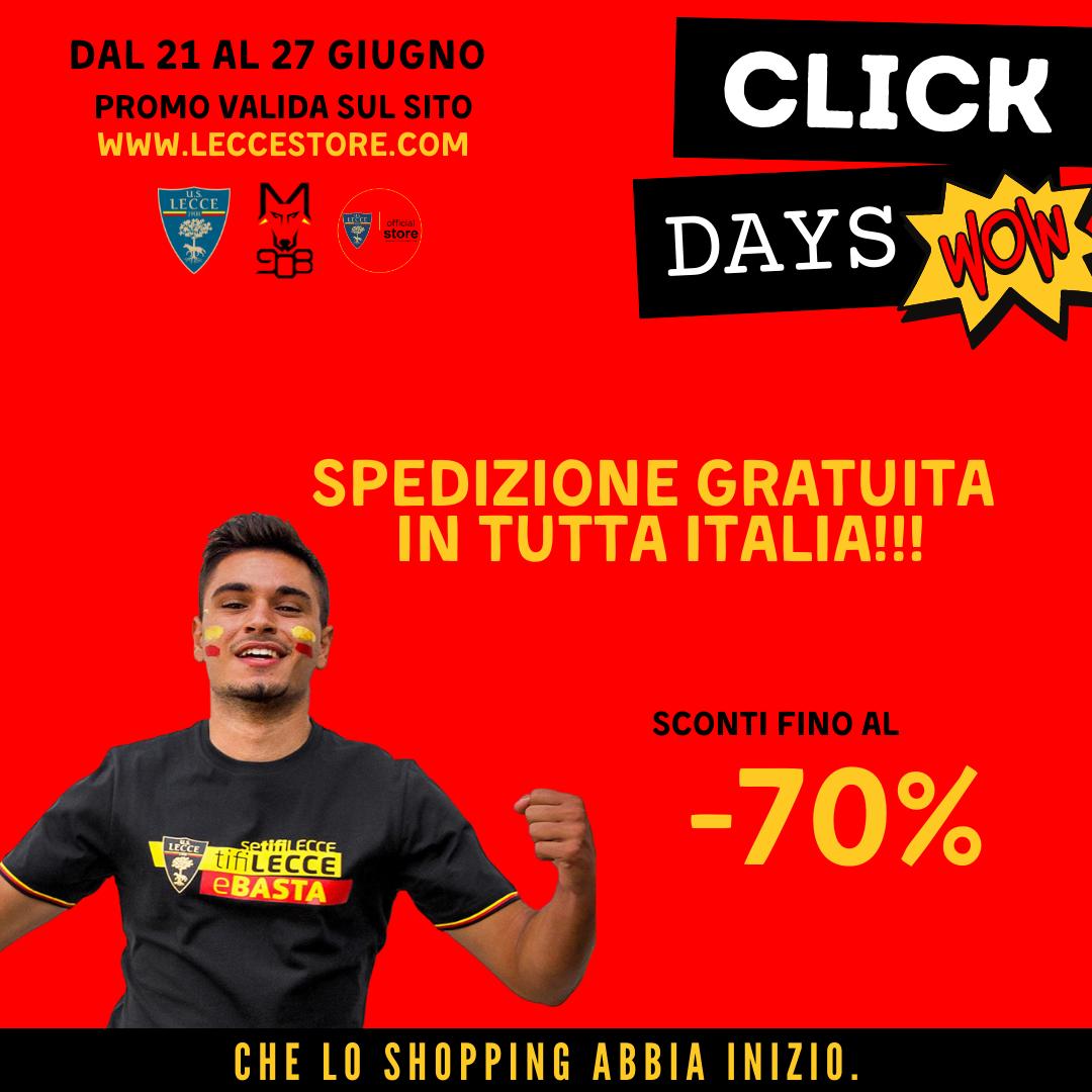 CLICK DAYS – DAL 21 AL 27 GIUGNO – SPEDIZIONE RAPIDA SDA GRATUITA (ITALIA, SPESA MINIMA €20) – EUROPA €10